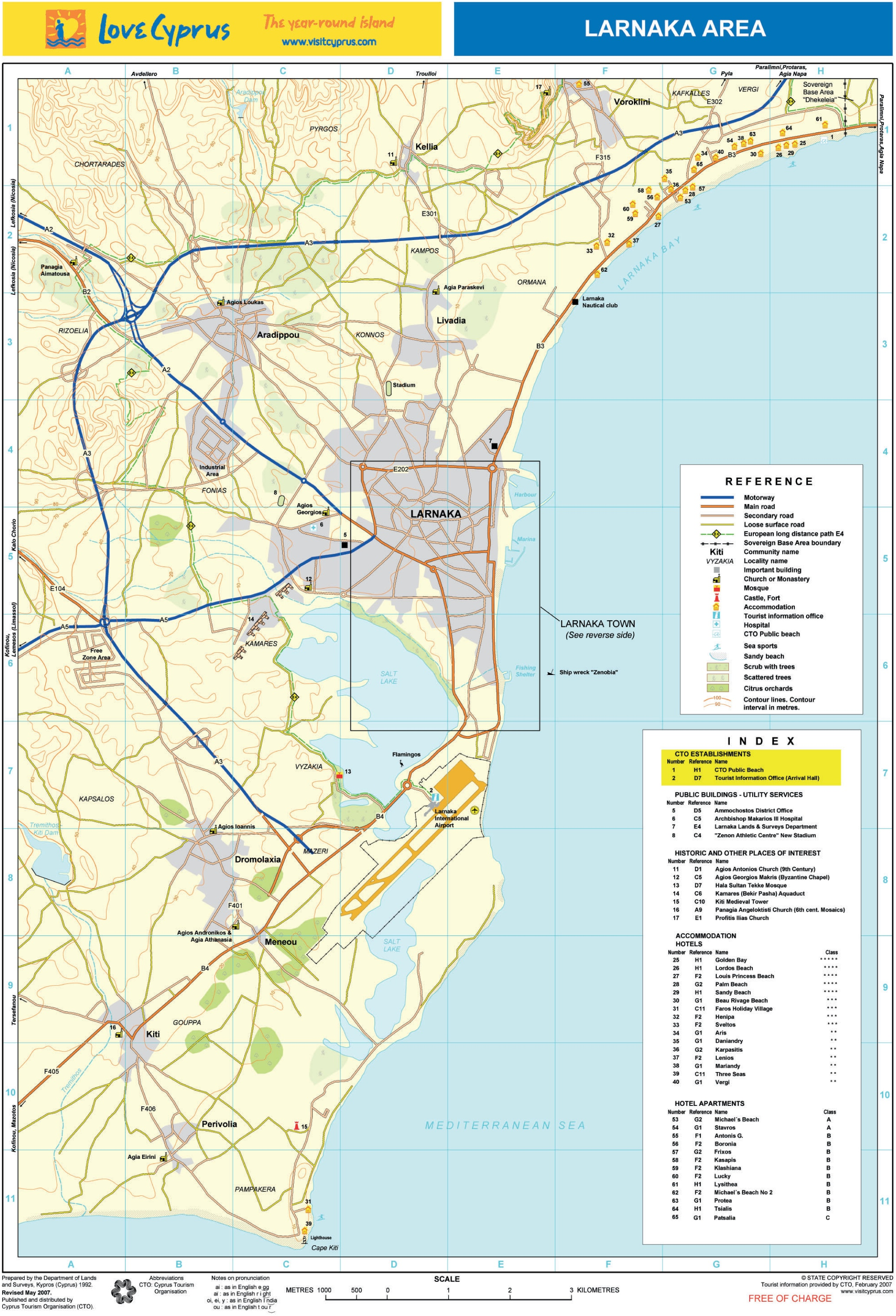 Larnaca area tourist map