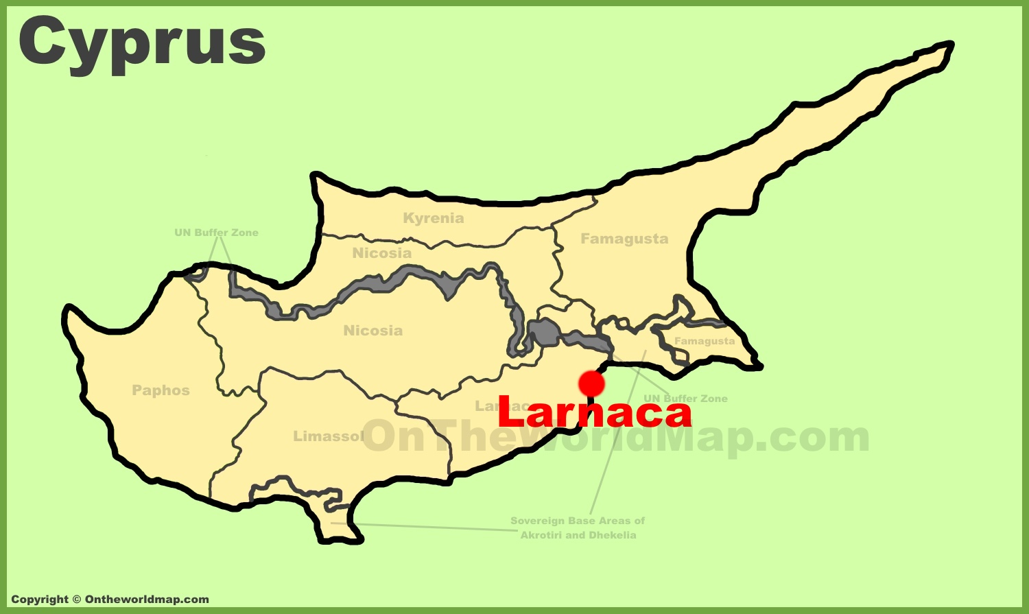 Larnaca location on the Cyprus map