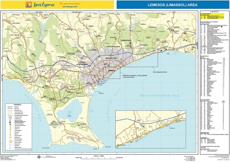 Limassol area tourist map