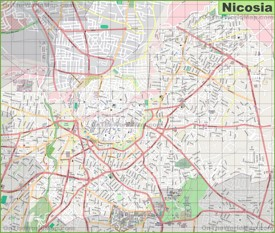 Large detailed map of Nicosia