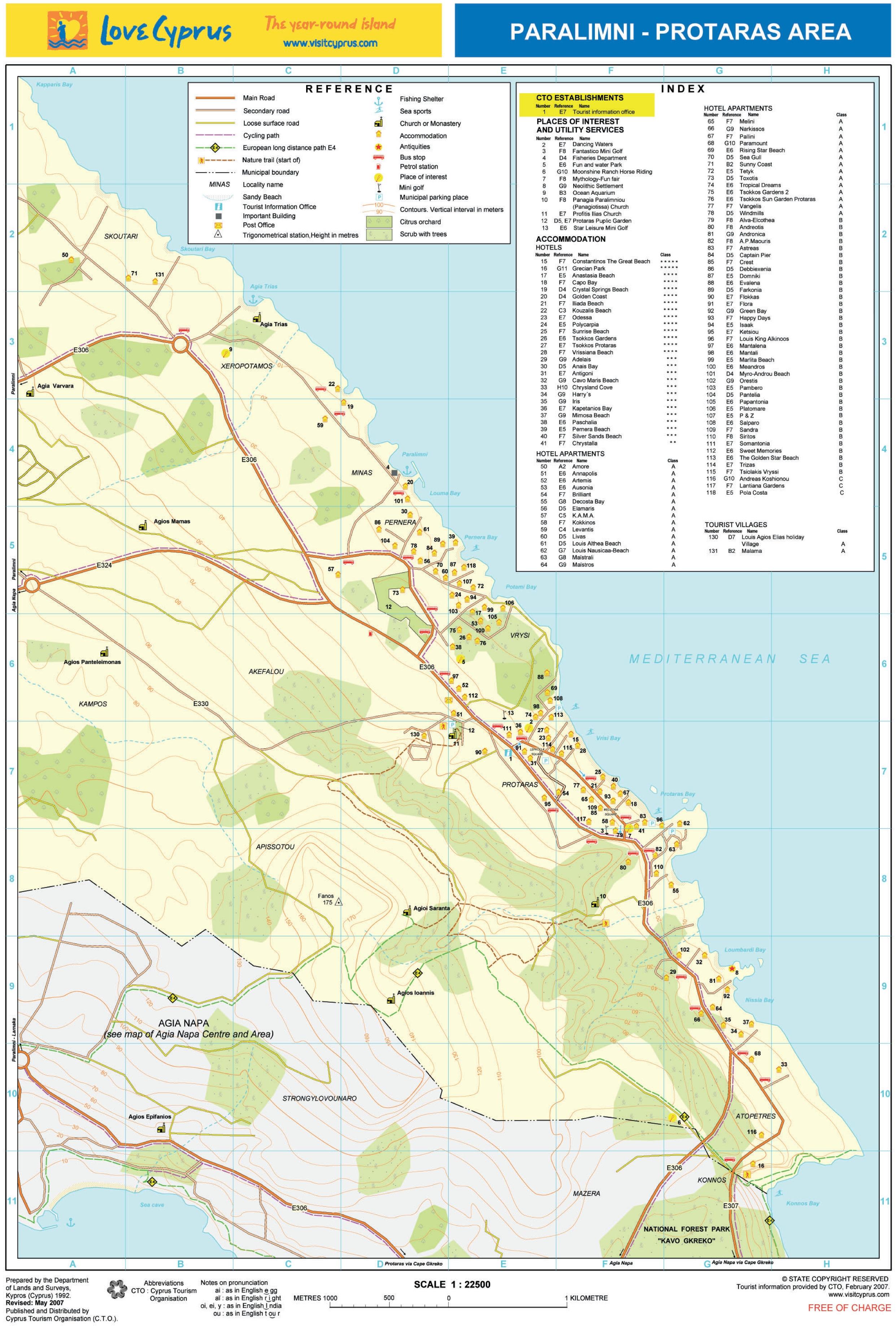 Protaras hotel map