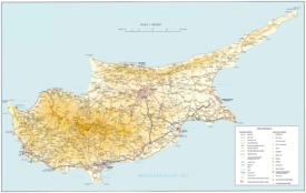 Cyprus tourist map with cities