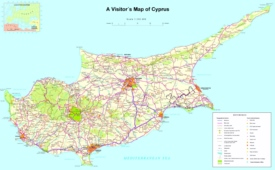Large detailed tourist map of Cyprus