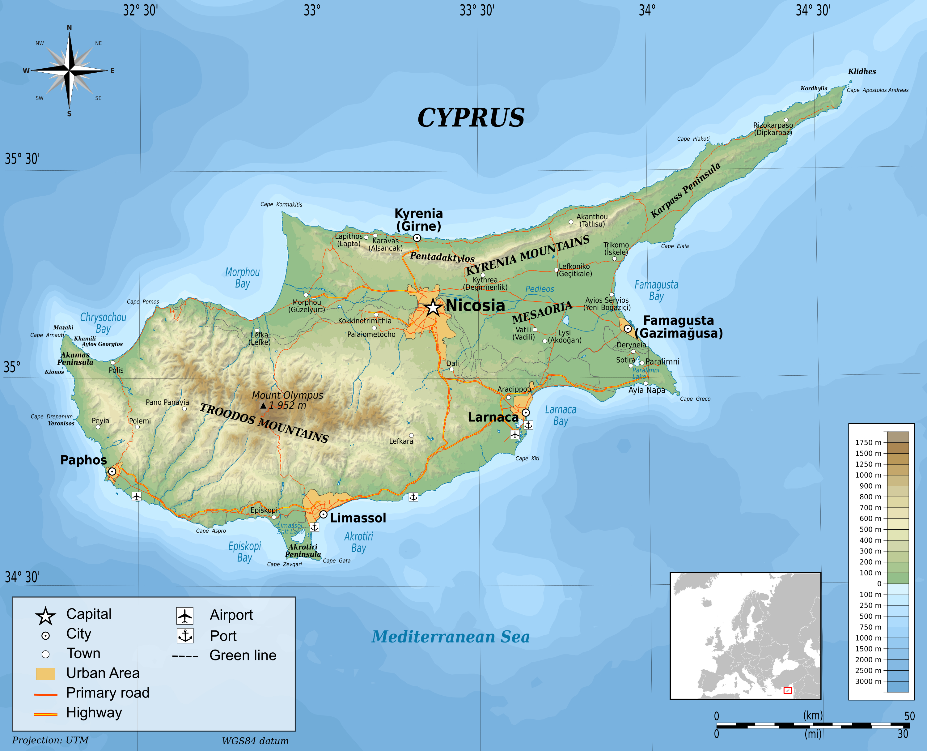 Large physical map of Cyprus