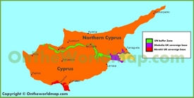 Map of UK sovereign bases in Cyprus