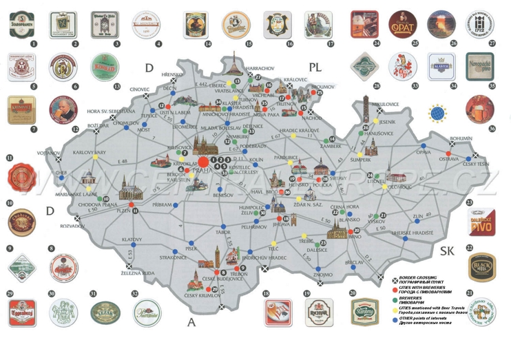 Beer map of Czech Republic