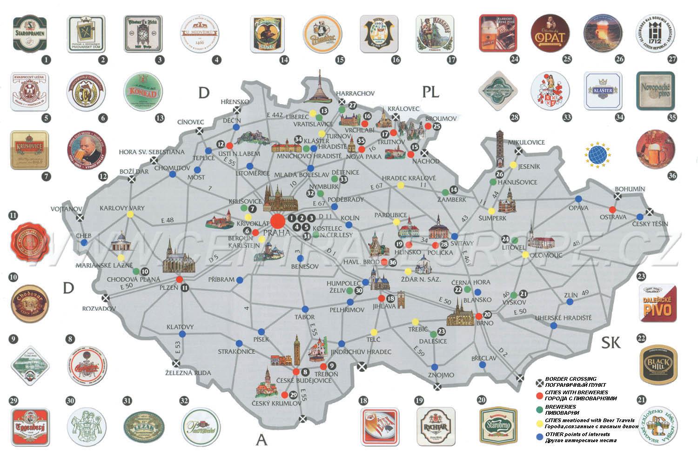 Beer Map Of Czech Republic - Czech republic map