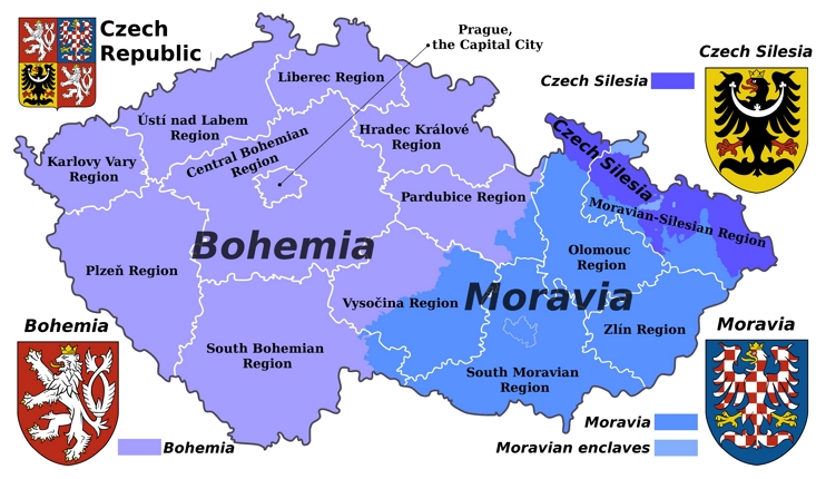 Bohemia, Moravia and Silesia on the map of Czech Republic