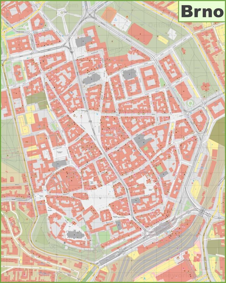 Brno city center map
