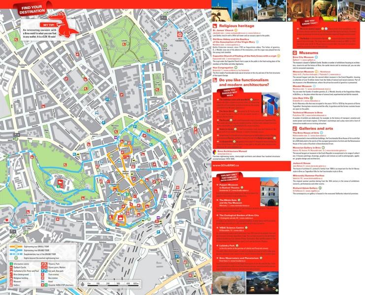 Brno sightseeing map