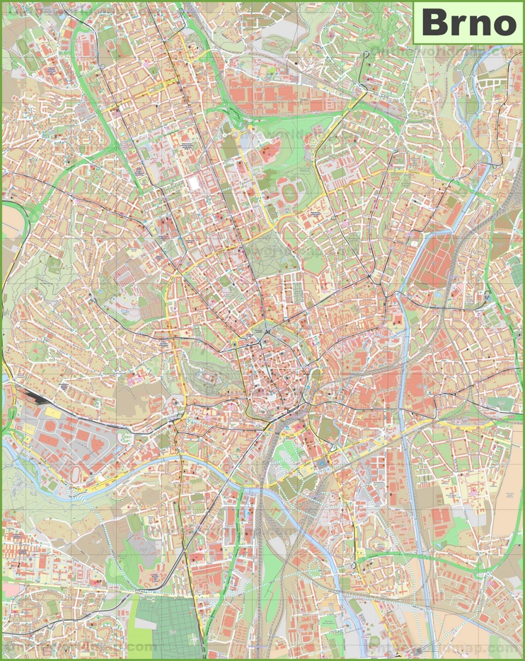 Detailed map of Brno