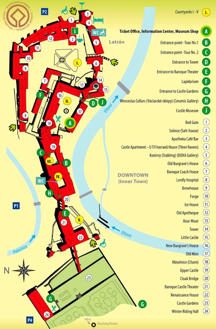 u010cesk u00fd krumlov castle map