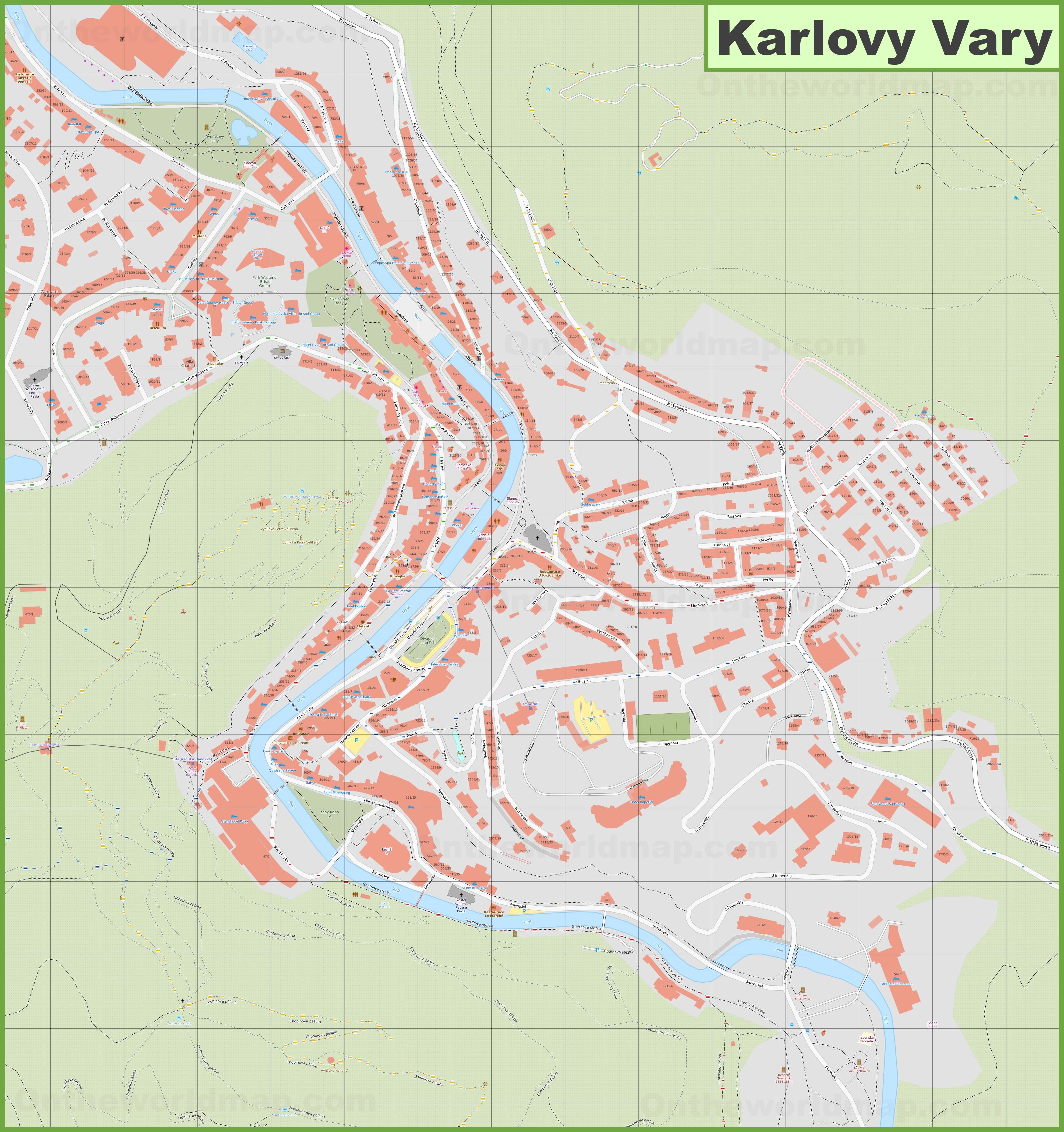 Karlovy Vary Hotel Map