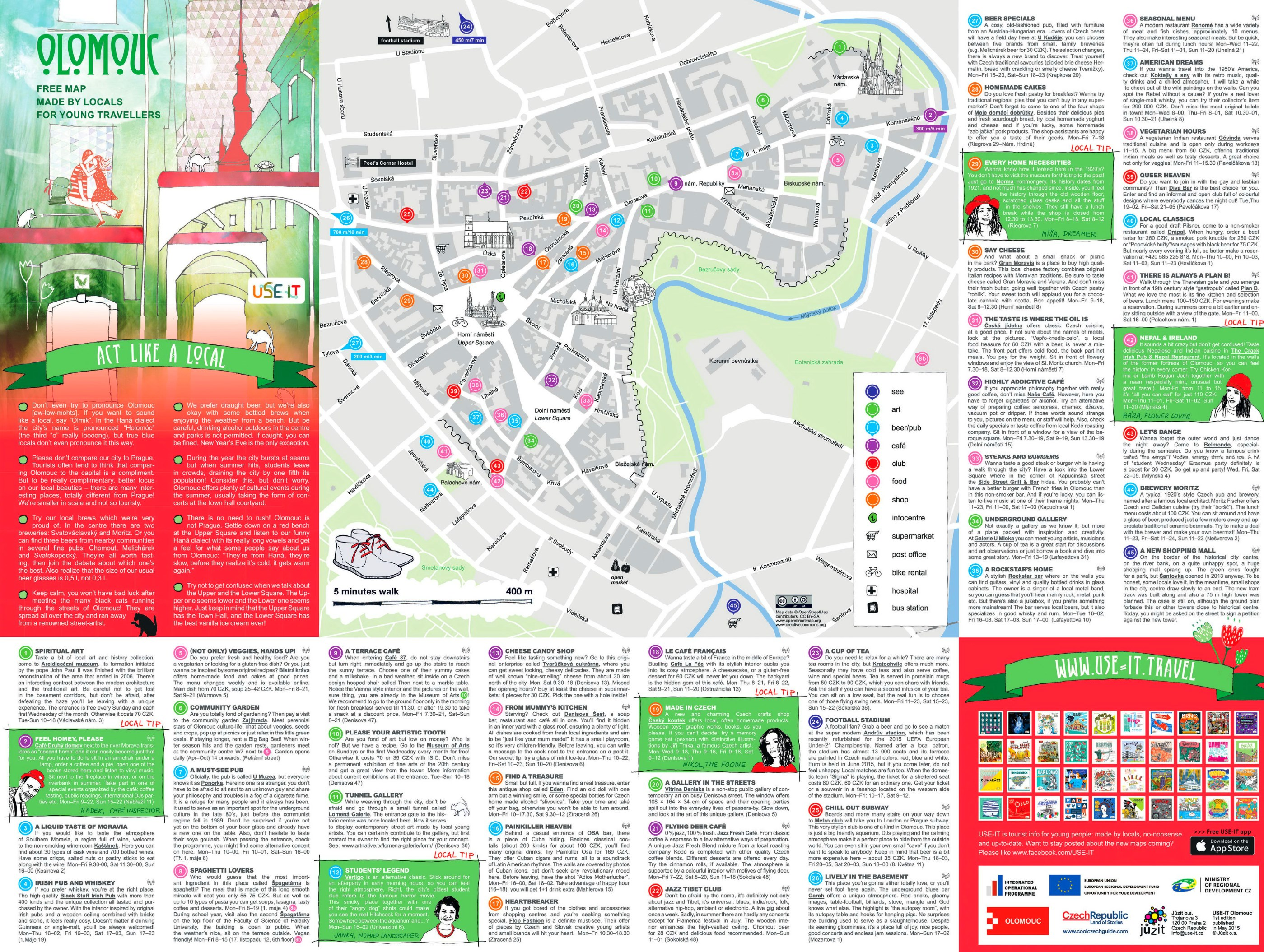 Olomouc sightseeing map