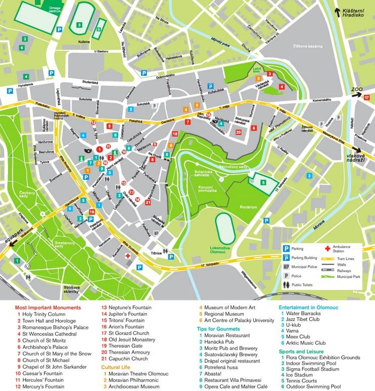 Olomouc tourist attractions map