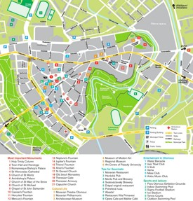 Olomouc tourist attractions map