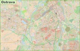 Detailed map of Ostrava