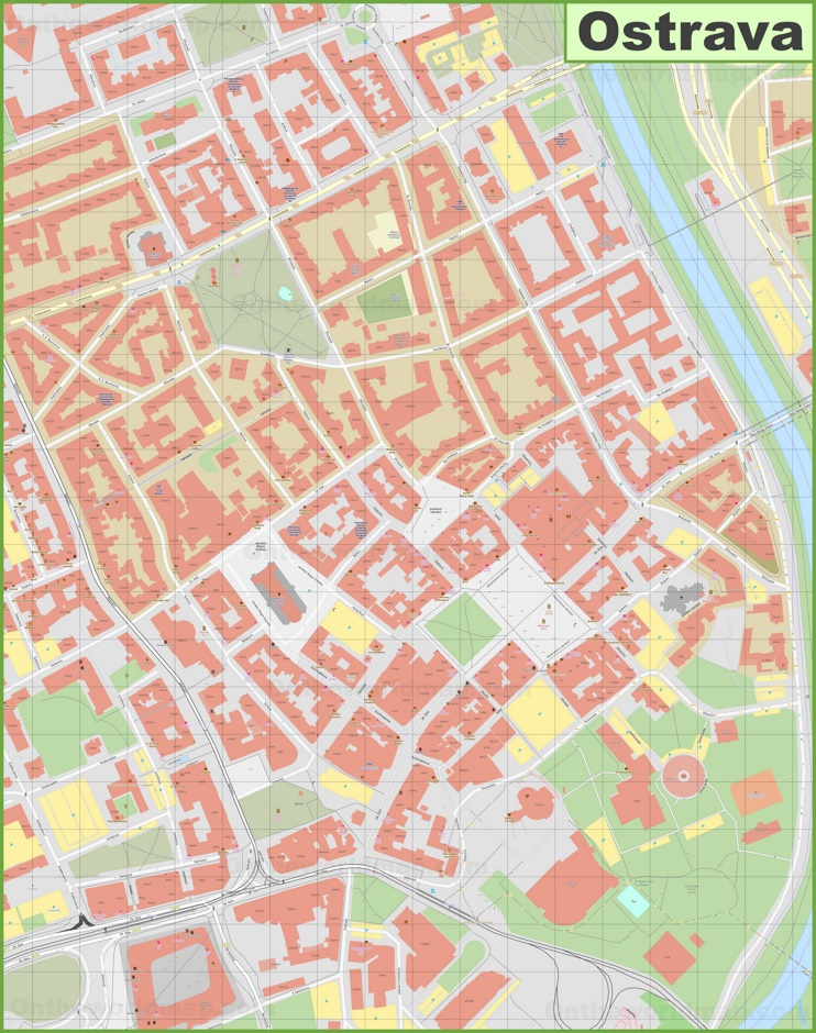 Ostrava city center map