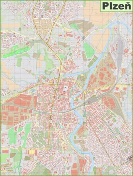 Detailed map of Plzeň