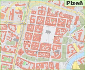 Plzeň city center map