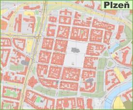 Plzeň city center map