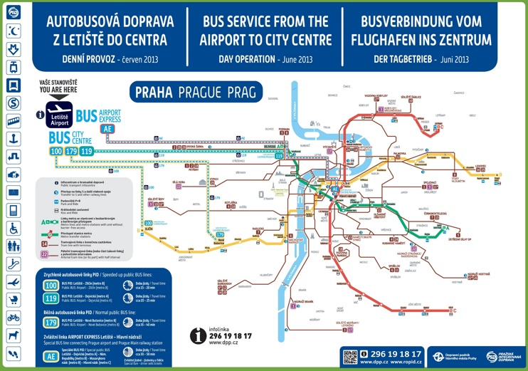 From airport to Prague city centre map