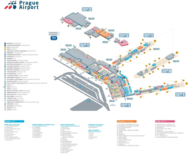 Prague airport terminal 1 map