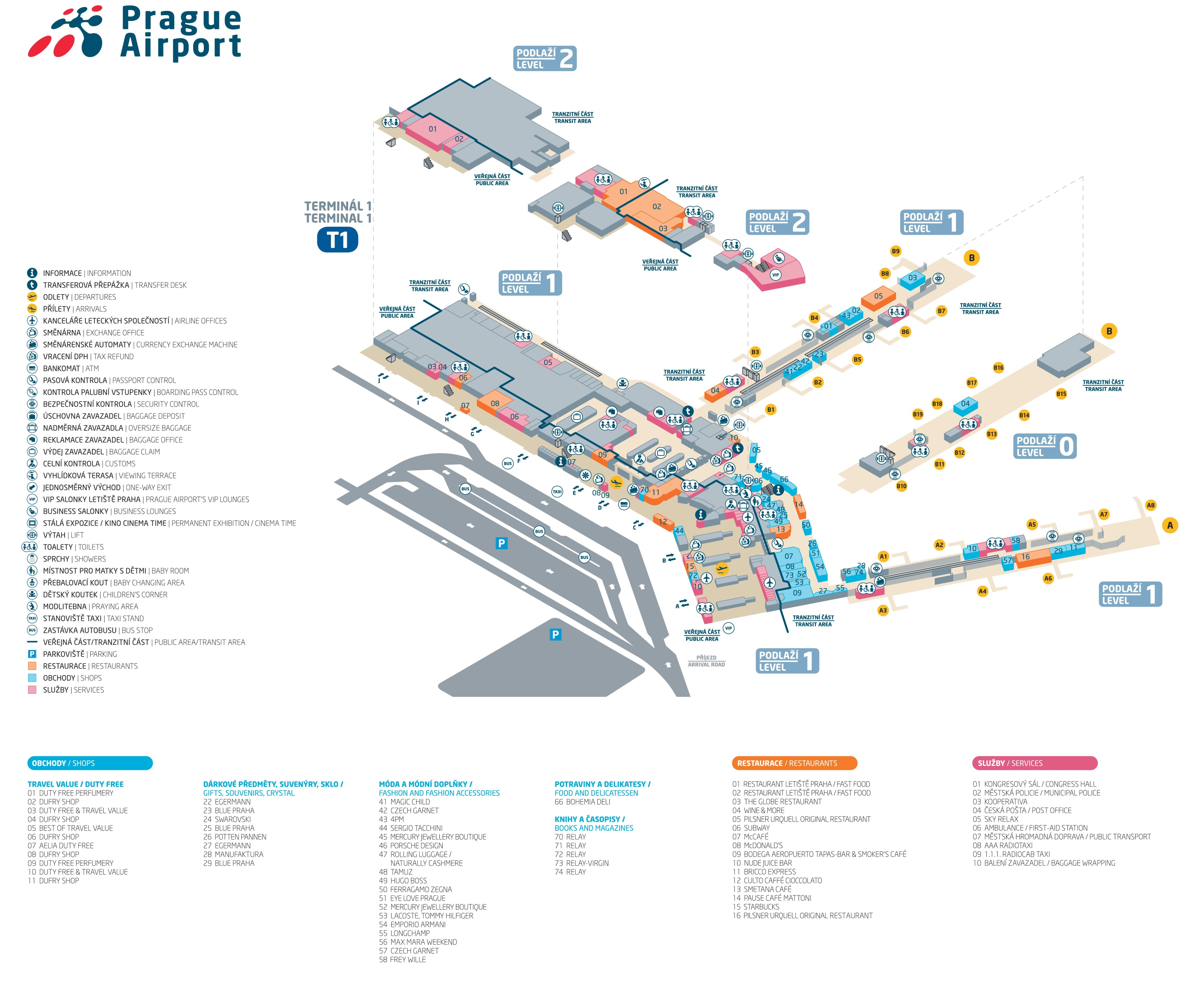 Prague Airport Terminal Map - Rome map with airports