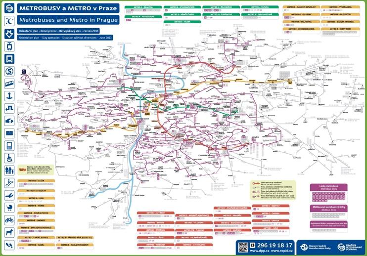 Prague metro and bus map