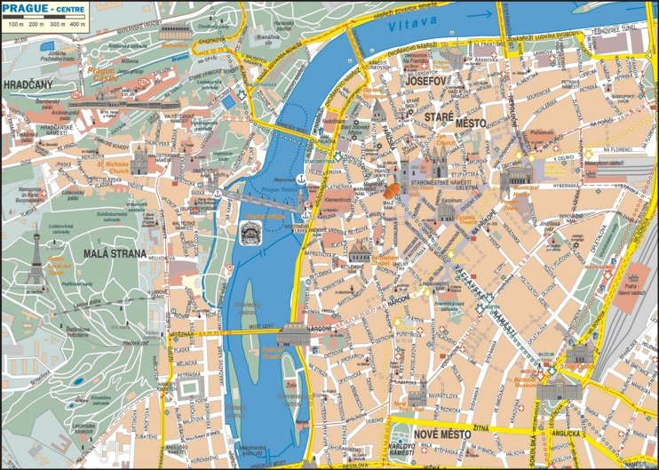 Prague city center map