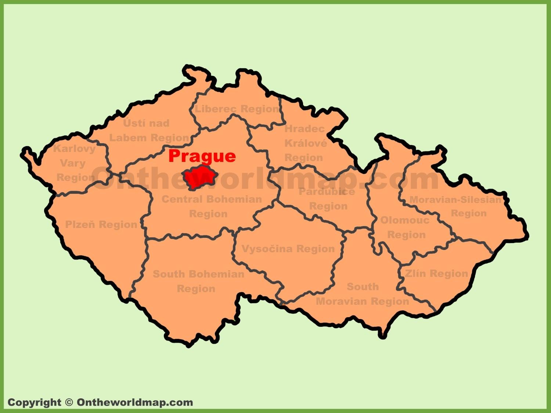 Prague location on the czech republic map for Prague location