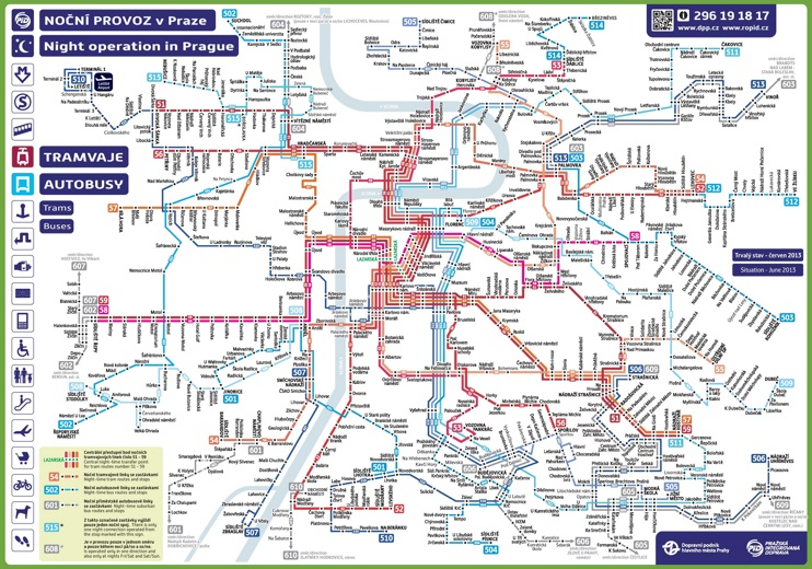 Prague night transport map