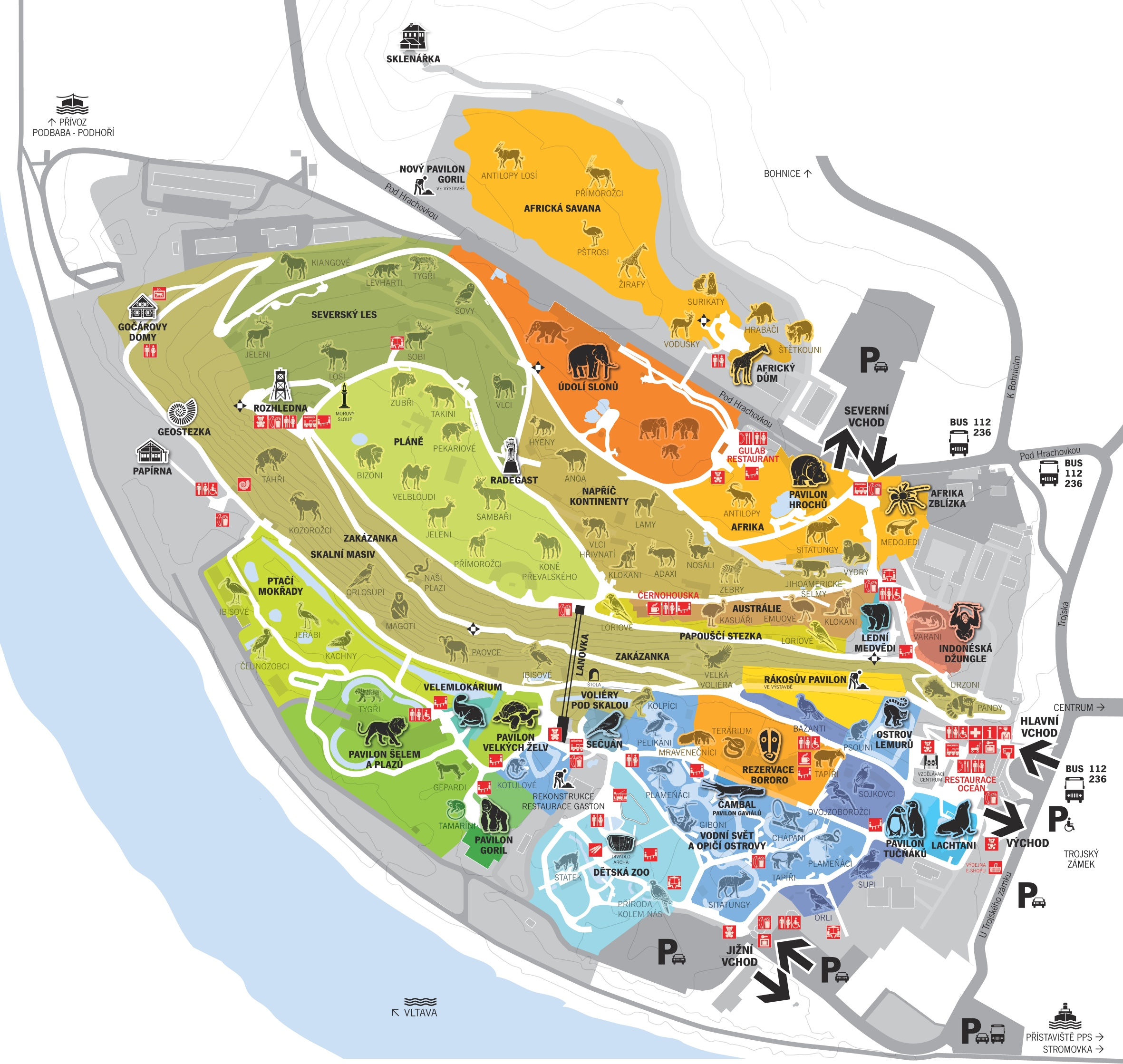 Prague Zoo map – Tourist Map of Prague