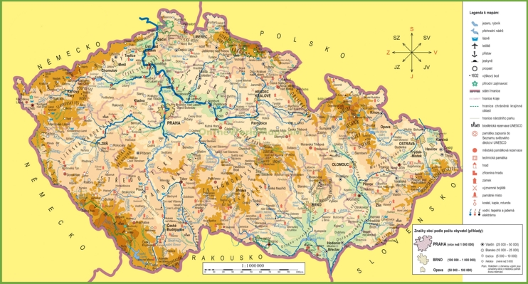 Large detailed tourist map of Czech Republic
