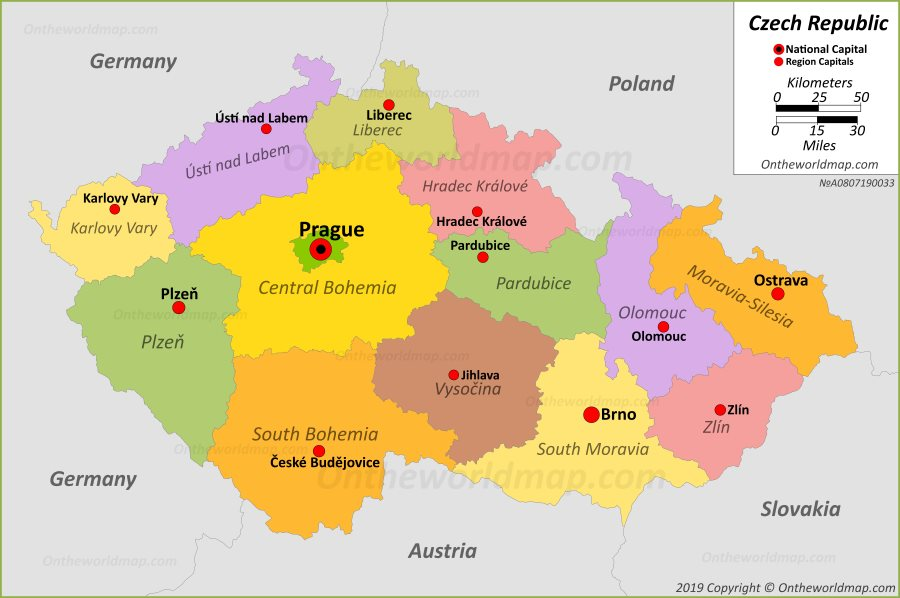 Political Map Of Czech Republic on United States Map Of Capitals