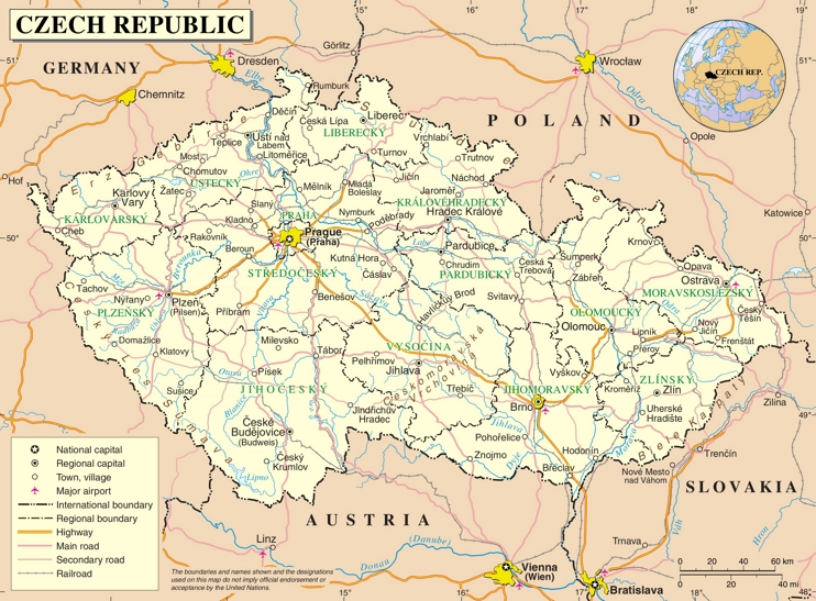 Road map of Czech Republic
