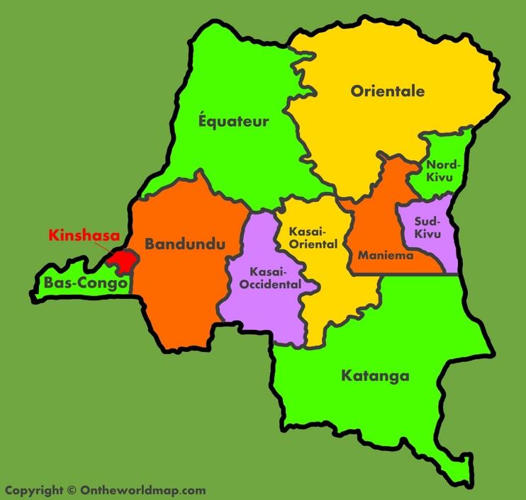Administrative map of Democratic Republic of the Congo