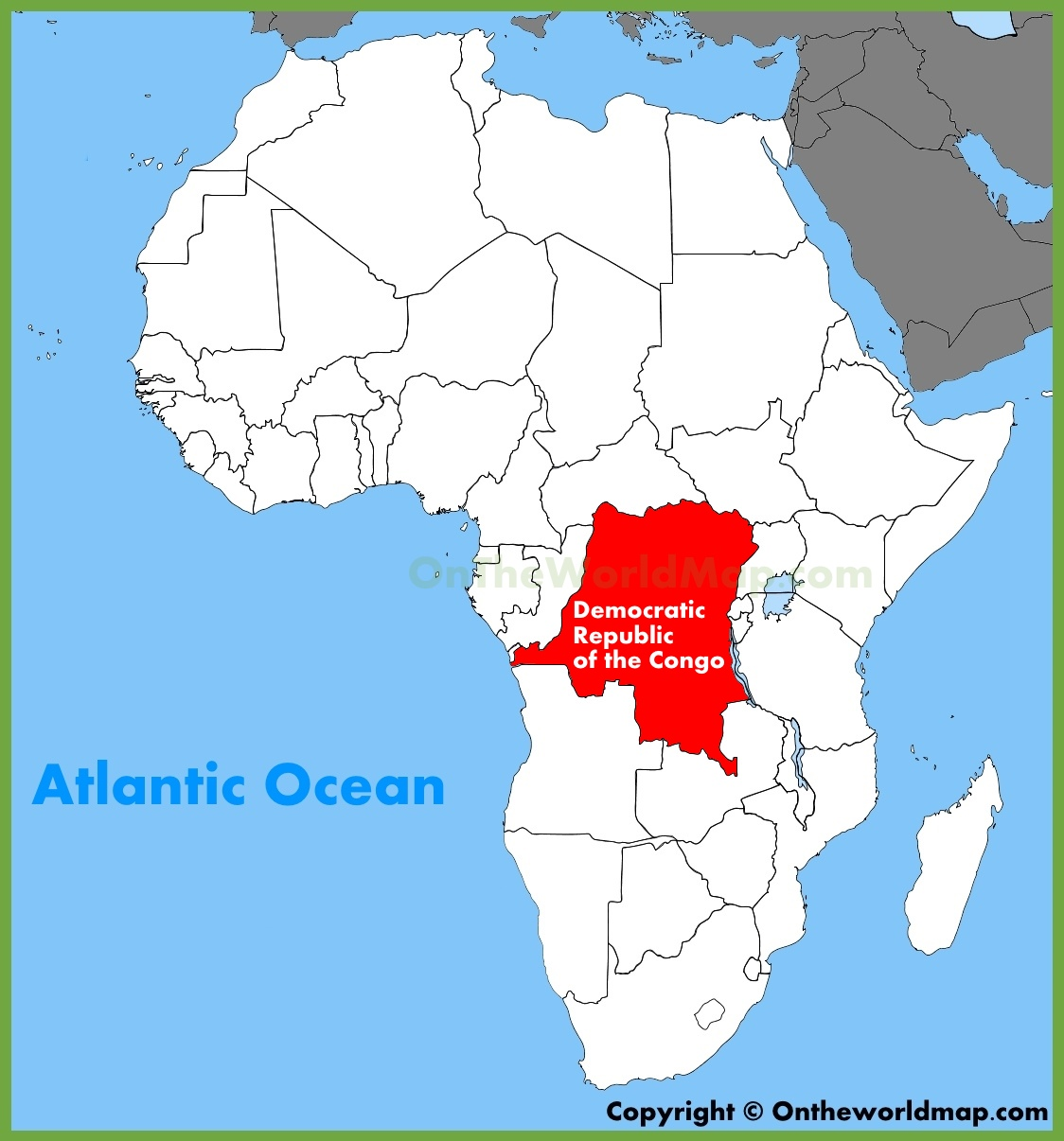 Democratic Republic of the Congo location on the Africa map