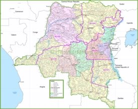 Large detailed map of Democratic Republic of the Congo with cities and towns