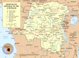 Road map of Democratic Republic of the Congo