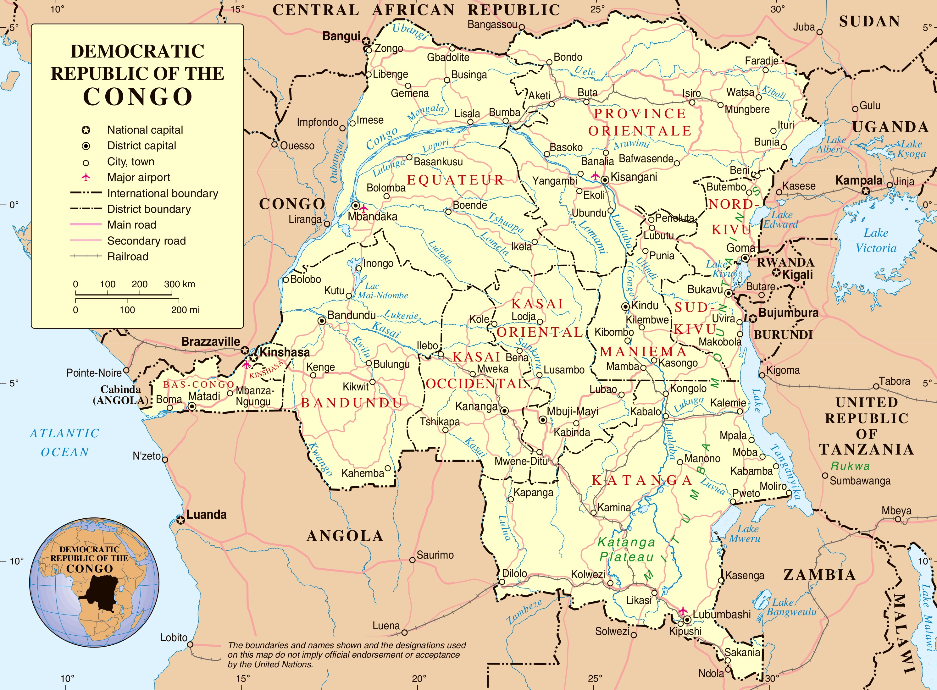 Road Map Of Democratic Republic Of The Congo - Angola road map
