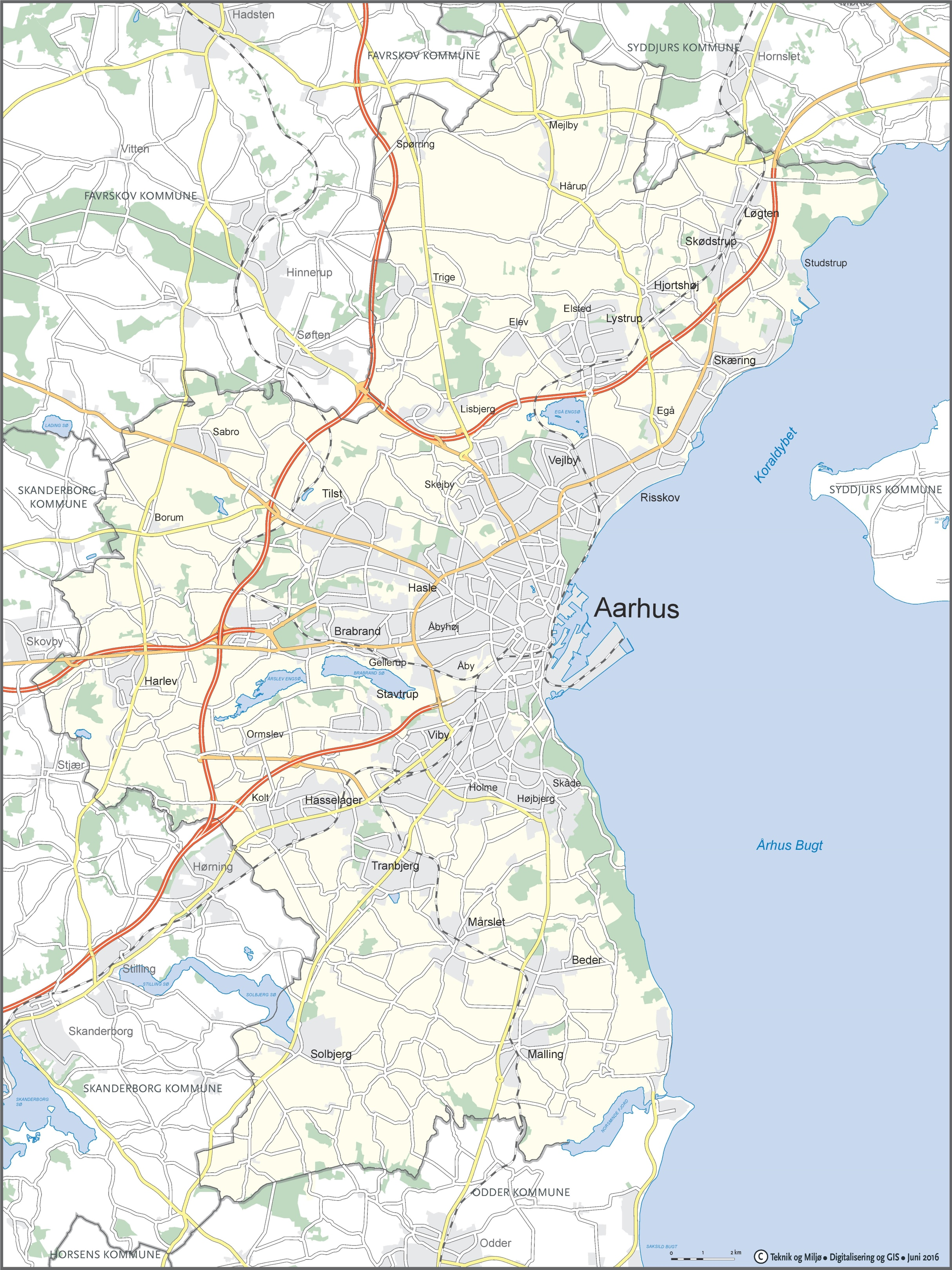 Map of surroundings of Aarhus