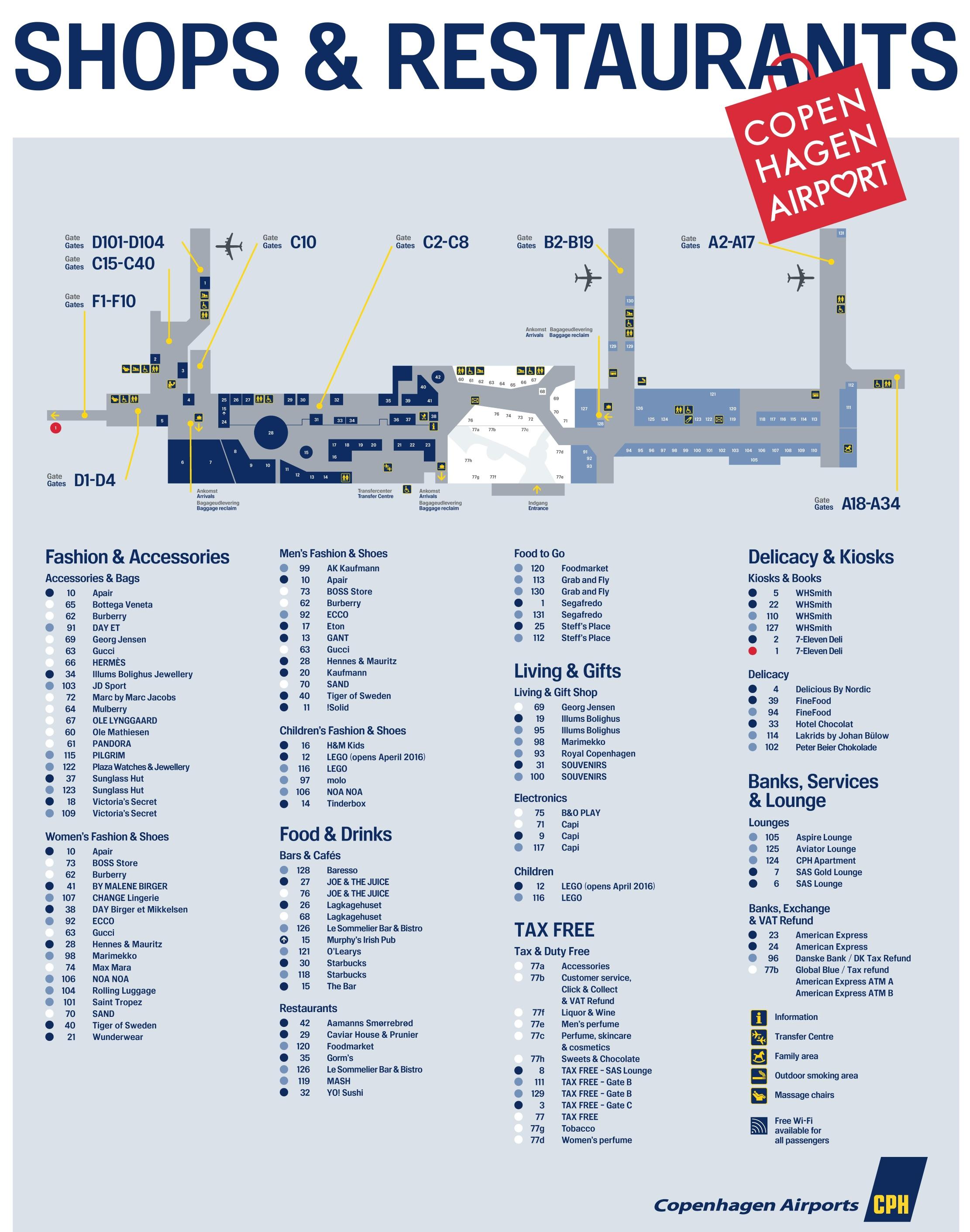 Copenhagen Airport Map Copenhagen airport map
