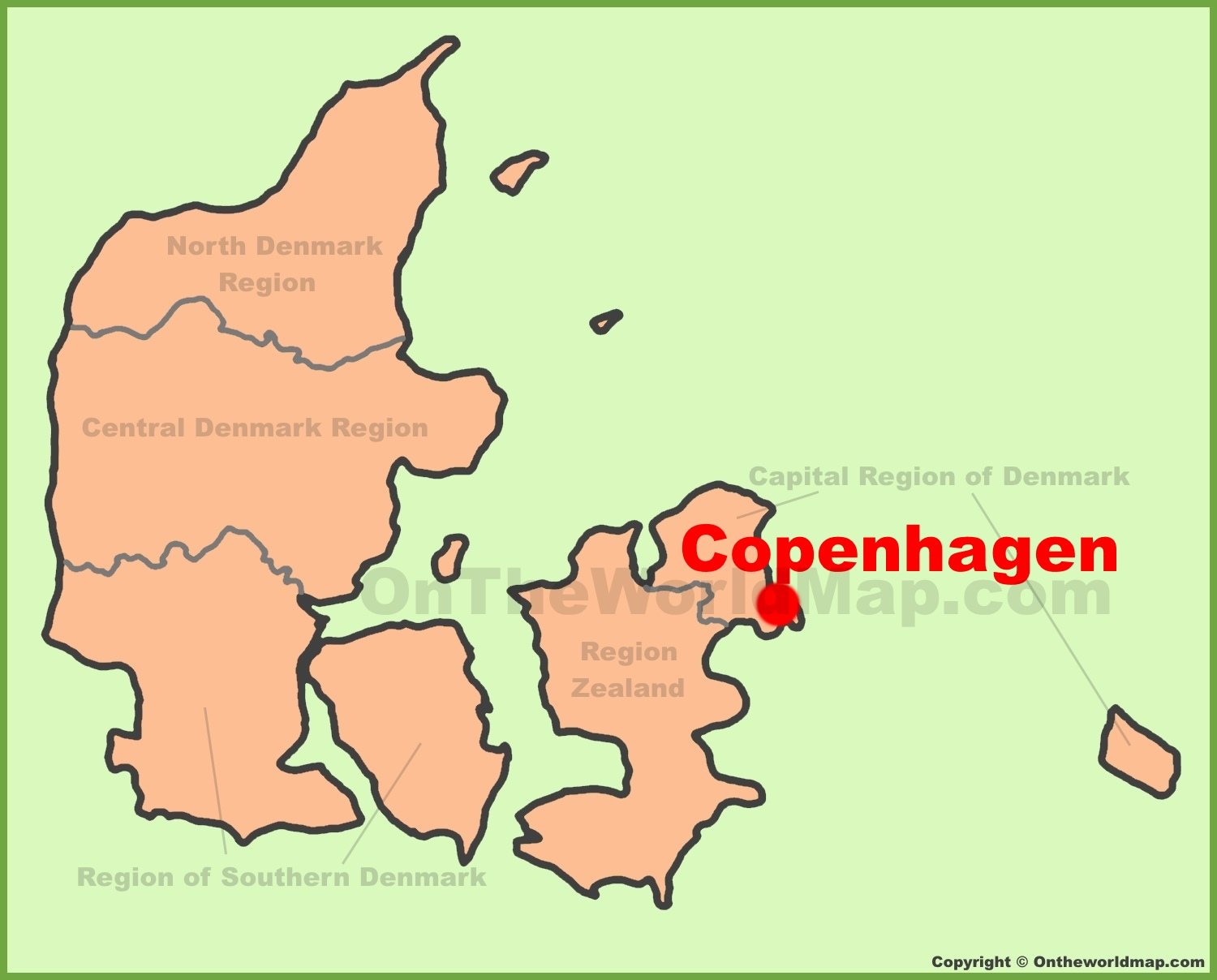 Copenhagen location on the Denmark Map