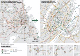 Copenhagen public transport, bus and train map
