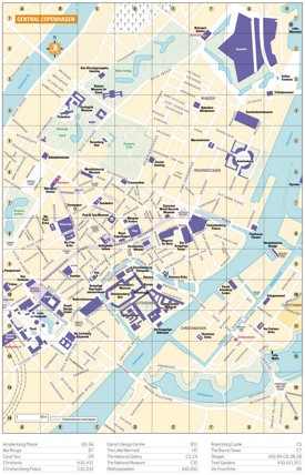Tourist map of Copenhagen city centre