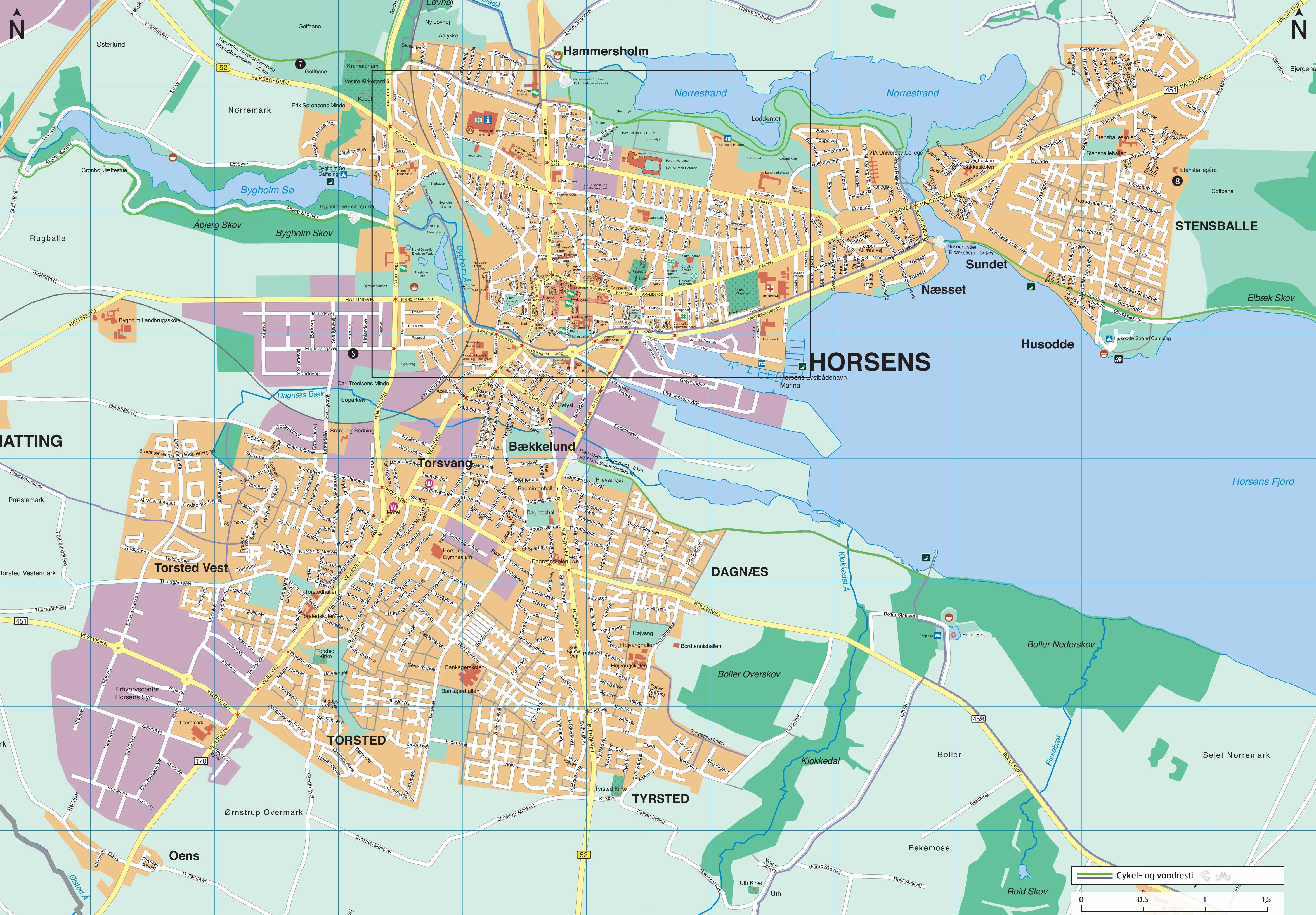 Horsens hotels and sightseeings map