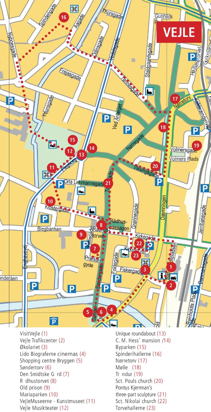 Vejle city center map