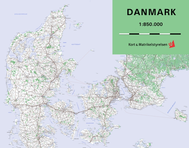 Large detailed map of Denmark with cities and towns