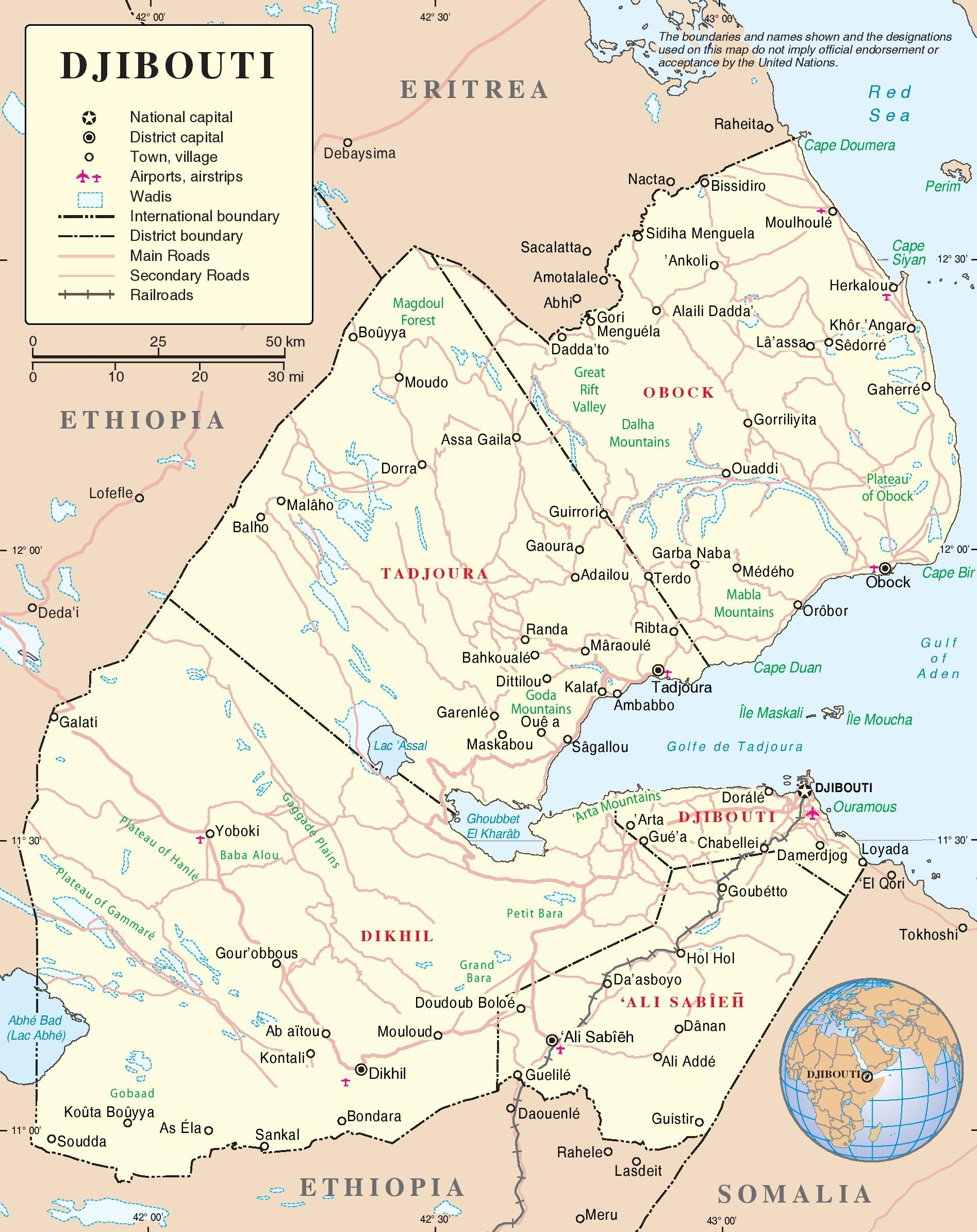 Djibouti political map on